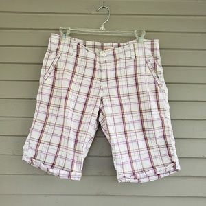 Mossimo White & Pink Plaid Bermuda Shorts Size 11